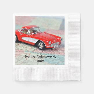 retirement-red corvette sports car on road map paper napkin