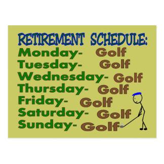 Retirement Schedule GOLFER Postcard
