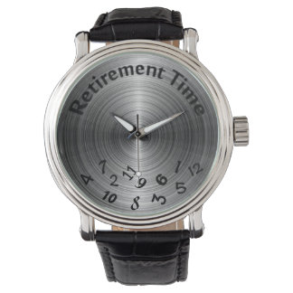 retirement-scrambled numbers on metallic gray watch