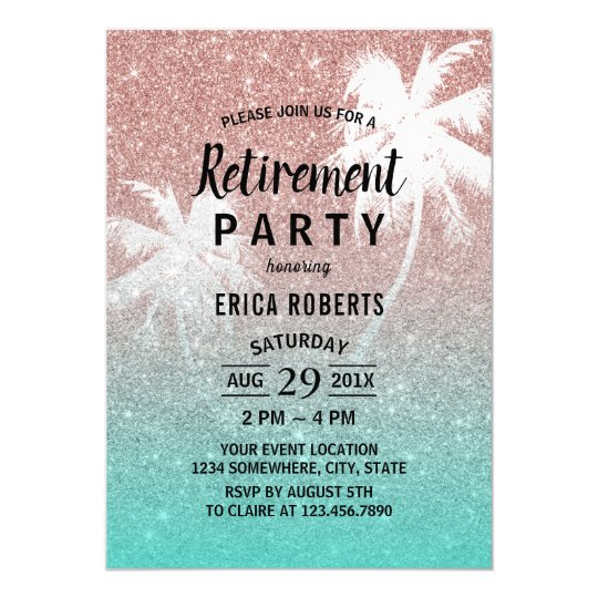 Retirement Tropical Palm Tree Rose Gold Glitter Card