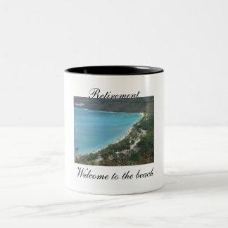 Retirement, Welcome to the beach - Customized Two-Tone Coffee Mug