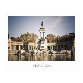 retiro park madrid spain postcard