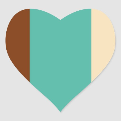RETRO 021 STRIPES BROWNS TEALS CREAMS TANS templat Heart Stickers
