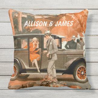 Retro 1920's Flapper Lady Classical Car Road Trip Throw Pillow