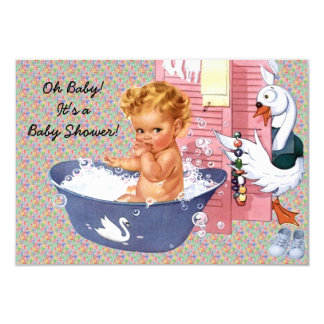 Retro 1940s Baby Shower V2 9 Cm X 13 Cm Invitation Card