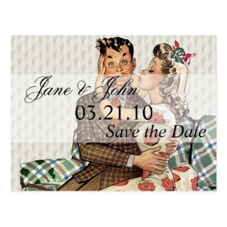 Retro 1940s Kissing Couple Save the Date Postcard