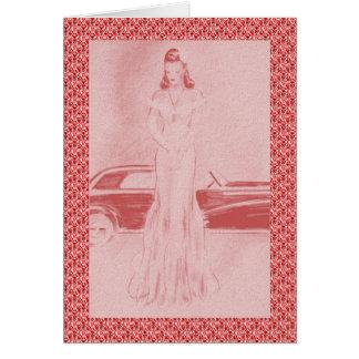 Retro 1940s Woman & Car Card