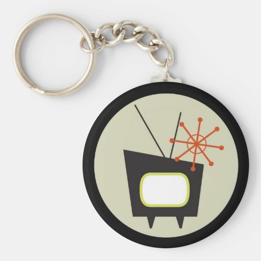 Retro 1950 TV Set Keychain