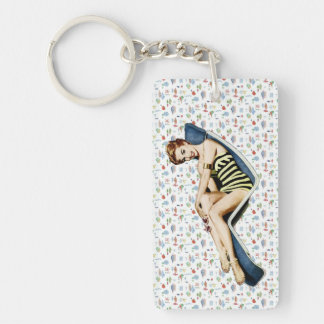 Retro 1950s Beach Pinup Single-Sided Rectangular Acrylic Key Ring