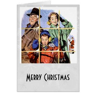 Retro 1950s Christmas Window Note Card