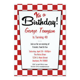 Retro 1950s Diner Red White Birthday Invitations