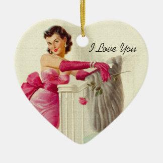 Retro 1950s Love Ceramic Ornament