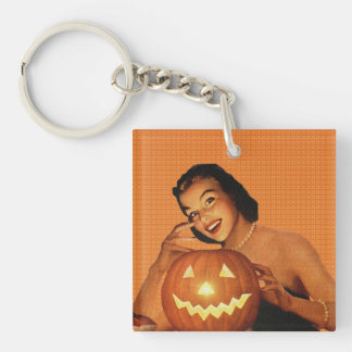 Retro 1950s Pinup Halloween Single-Sided Square Acrylic Keychain