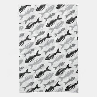 Retro 1950s Seafood Restaurant Fishbone Pattern Towels