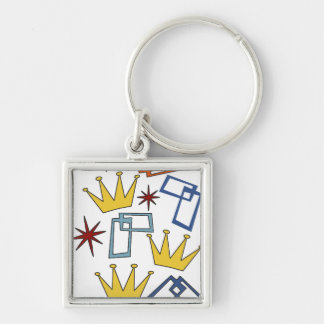 Retro 1950's Shapes Crown Keychain