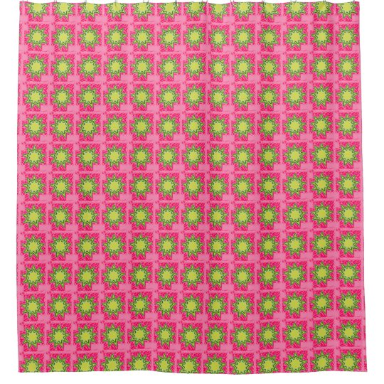 retro 1950 39 s vintage floral pink green fabric shower curtain zazzle. Black Bedroom Furniture Sets. Home Design Ideas