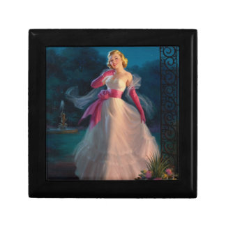 Retro 1950s Woman During Evening Small Square Gift Box