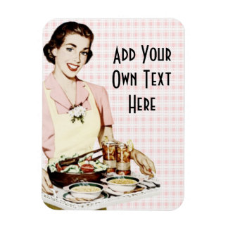 Retro 1950s Woman with Lunch Tray Rectangular Photo Magnet