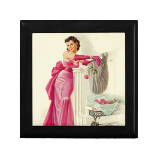 Retro 1950s Woman With Roses Jewelry Boxes