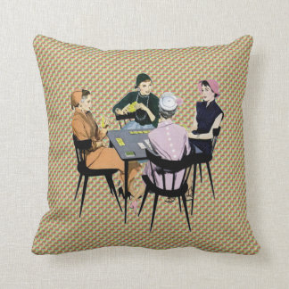 Retro 1950s Women Playing Cards Throw Pillow