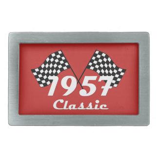 Retro 1957 Classic Black & White Checkered Flag Belt Buckles