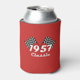 Retro 1957 Classic Black & White Checkered Flag Can Cooler