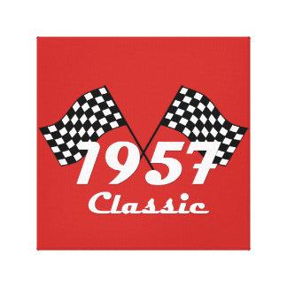 Retro 1957 Classic Black & White Checkered Flag Canvas Print