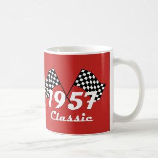 Retro 1957 Classic Black & White Checkered Flag Coffee Mug