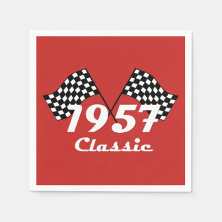 Retro 1957 Classic Black & White Checkered Flag Disposable Serviette