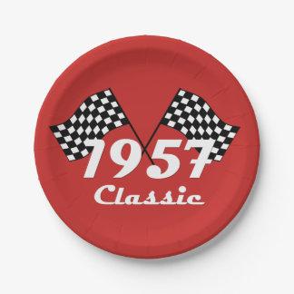 Retro 1957 Classic Black & White Checkered Flag Paper Plate