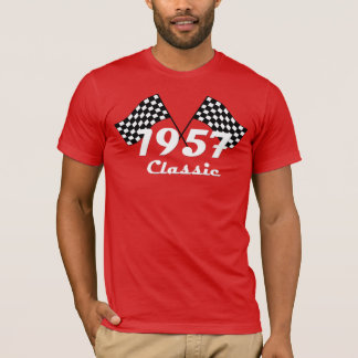 Retro 1957 Classic Black & White Checkered Flag T-Shirt