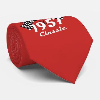 Retro 1957 Classic Black & White Checkered Flag Tie