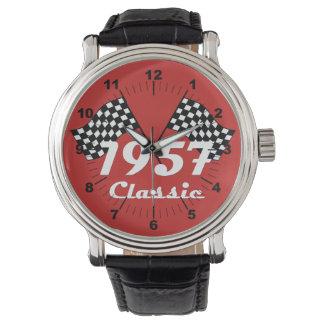 Retro 1957 Classic Black & White Checkered Flag Watch