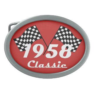 Retro 1958 Classic Black & White Checked Race Flag Belt Buckle