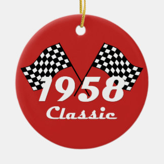Retro 1958 Classic Black & White Checked Race Flag Ceramic Ornament