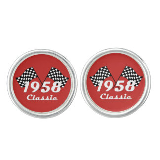 Retro 1958 Classic Black & White Checked Race Flag Cufflinks
