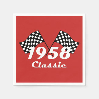 Retro 1958 Classic Black & White Checked Race Flag Disposable Serviette