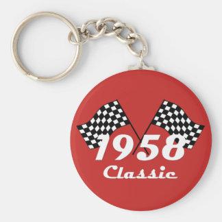 Retro 1958 Classic Black & White Checked Race Flag Key Ring