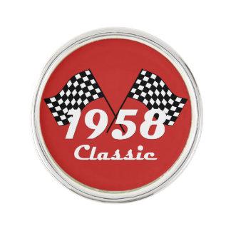 Retro 1958 Classic Black & White Checked Race Flag Lapel Pin