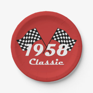 Retro 1958 Classic Black & White Checked Race Flag Paper Plate