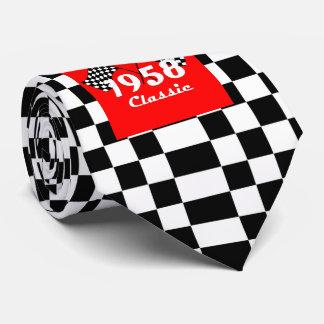 Retro 1958 Classic Black & White Checked Race Flag Tie