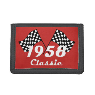 Retro 1958 Classic Black & White Checked Race Flag Trifold Wallet