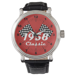 Retro 1958 Classic Black & White Checked Race Flag Watch