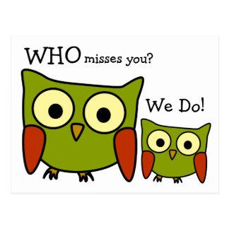 Retro 1960's Owl Miss You Postcard