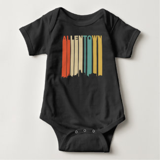 Retro 1970's Style Allentown Pennsylvania Skyline Baby Bodysuit
