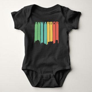 Retro 1970's Style Ann Arbor Michigan Skyline Baby Bodysuit