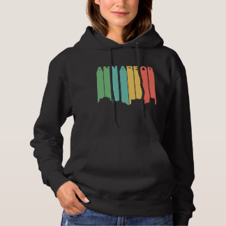 Retro 1970's Style Ann Arbor Michigan Skyline Hoodie
