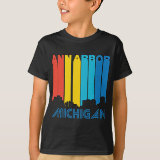 Retro 1970's Style Ann Arbor Michigan Skyline T-Shirt
