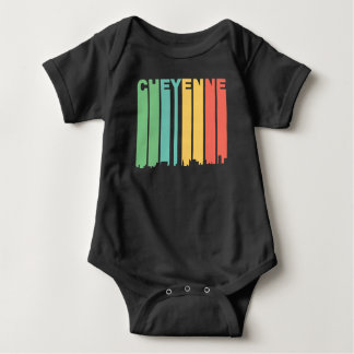Retro 1970's Style Cheyenne Wyoming Skyline Baby Bodysuit