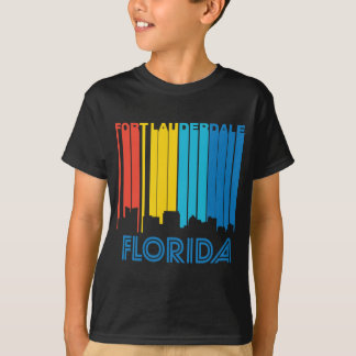 Retro 1970's Style Fort Lauderdale Florida Skyline T-Shirt